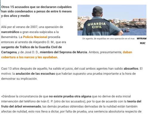 ABSUELVEN A DOS GUARDIAS CIVILES DE COLABORAR CON UNA RED DE NARCOS